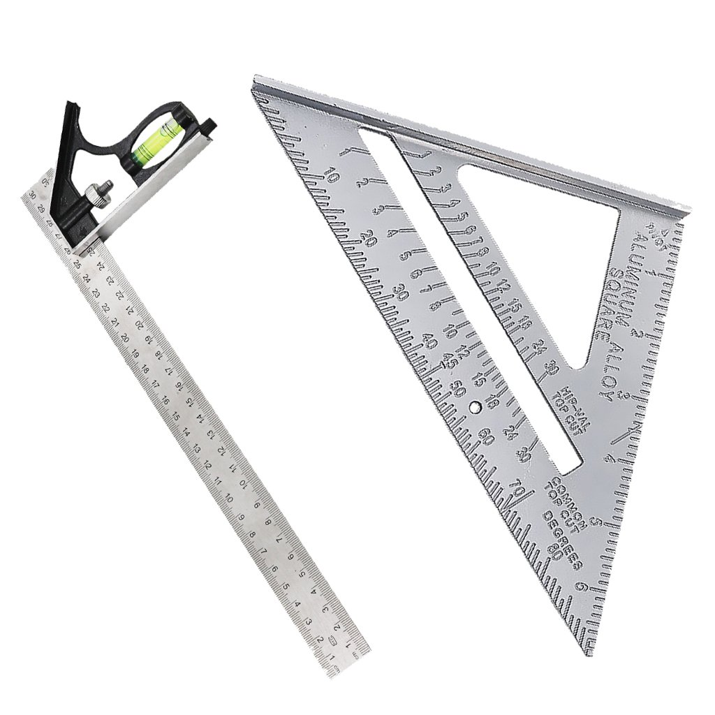 Flameer Adjustable Engineer Ruler - 1 Piece Steel 300mm 12in Adjustable and Measuring Square Ruler Engineer Combination Try Square Set Right Angle Ruler Woodworking Accessories