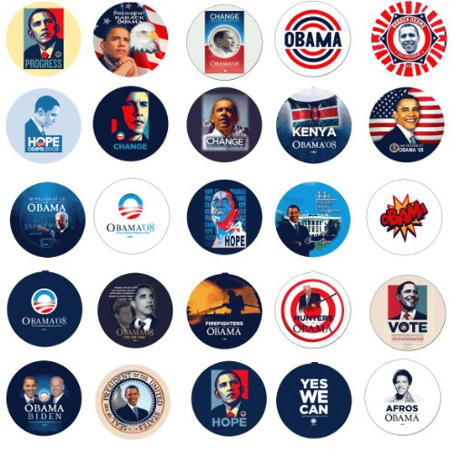 Obama Campaign Buttons - Set of 25 Units of 2.25
