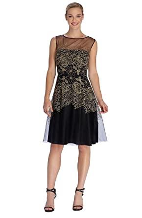 7738756d1bd9b Tahari By ASL Embroidered Mesh Fit-and-Flare Dress Navy/Gold Size 6 ...
