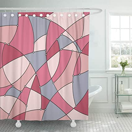 Shower Curtain 72x72 Inch Home Postcard Decor Abstract Colorful Geometric Of The Curves And Nodes Stained