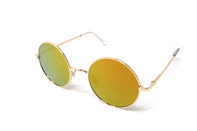 8feeb4ae67 Amazon.com  ColorViper Sunglasses Vintage Hippie Retro Metal Round Circle  Flat Lens (shiny gold orange mirror flat lens