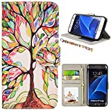 MagicSky S7 edge Case, Samsung Galaxy S7 edge Wallet Case, Premium PU Leather Wristlet Flip Case Cover with Card Slots & Stand for Samsung Galaxy S7 edge, Love Tree Pattern