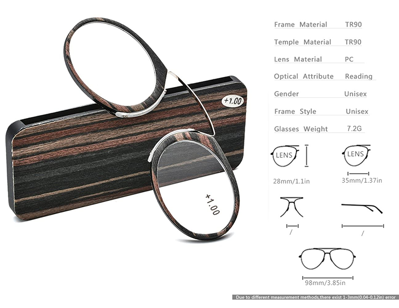 a85a4a6104cb Amazon.com  Pince Nez Style Clamp Nose Resting Pinching Reading Glasses ith No  Temple Arms Readers for Men and Women FJB02 (Brown