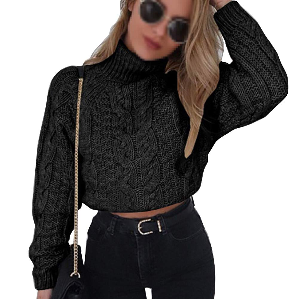 Pevor Womens Casual Turtleneck Long Sleeve Chunky Fall Winter Pullover Jumper Knited Sweater Crop Tops Black L