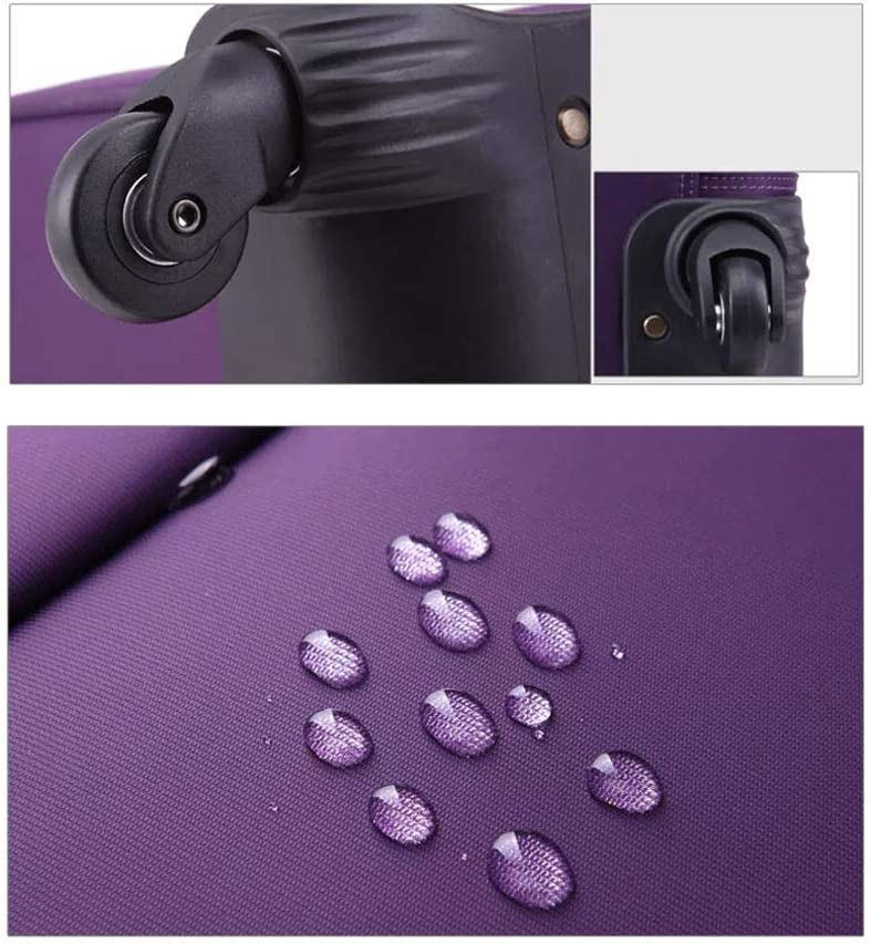 BMHFF Luggage Lightweight Waterproof Softshell Carry On Luggage Suitcase Business Boarding The Chassis with 4 Spinner Wheels Telescoping Handle 16In20in24in for Men and Women,Purple,20In