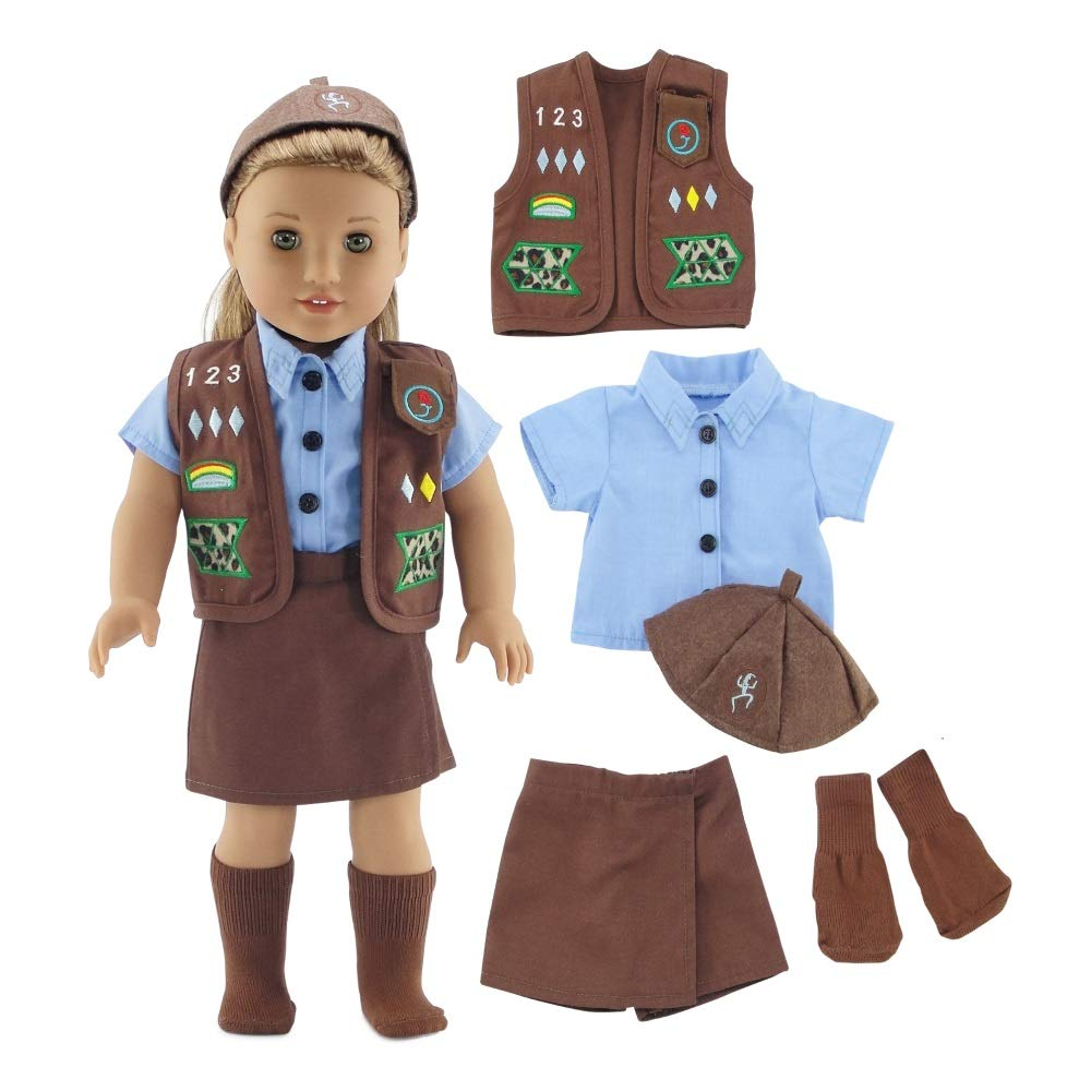 Emily Rose 18 Inch Doll Clothes | Brownie Girl Scout Modern 5 Piece Uniform Outfit with Skort! | Fits 18'' American Girl Dolls | Gift-Boxed! by Emily Rose