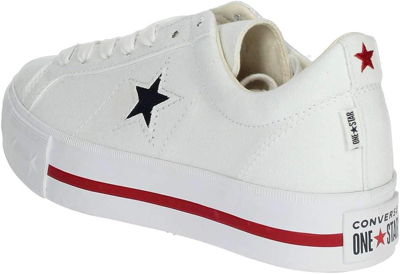 Converse Chaussures Femme Baskets Basses avec Plateforme 564030C One Star Platform Ox Blanc