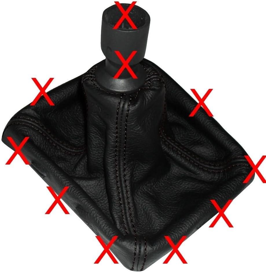 Cuffia leva cambio di 100/% VERA PELLE nero con cuciture rosse AERZETIX