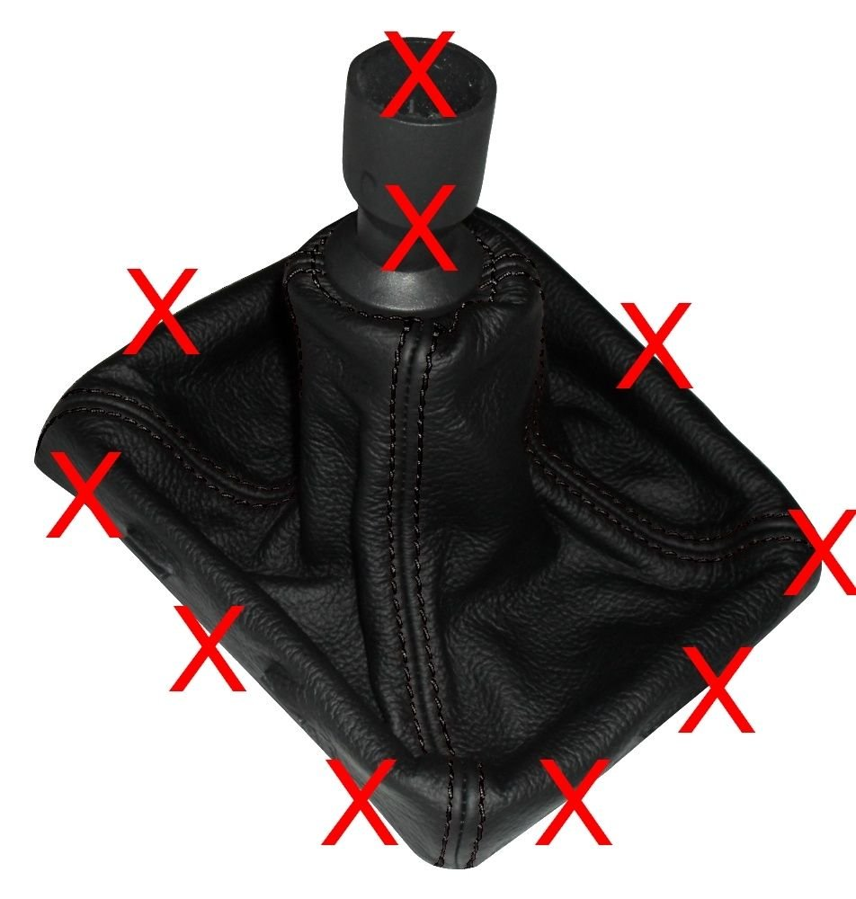 Cuffia leva cambio di 100/% vera pelle nera con cuciture bianco AERZETIX