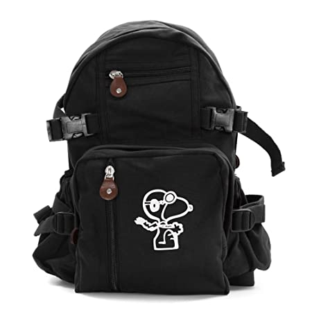 Snoopy Flying Ace Army Sport Heavyweight Canvas Backpack Bag in Black White, Small