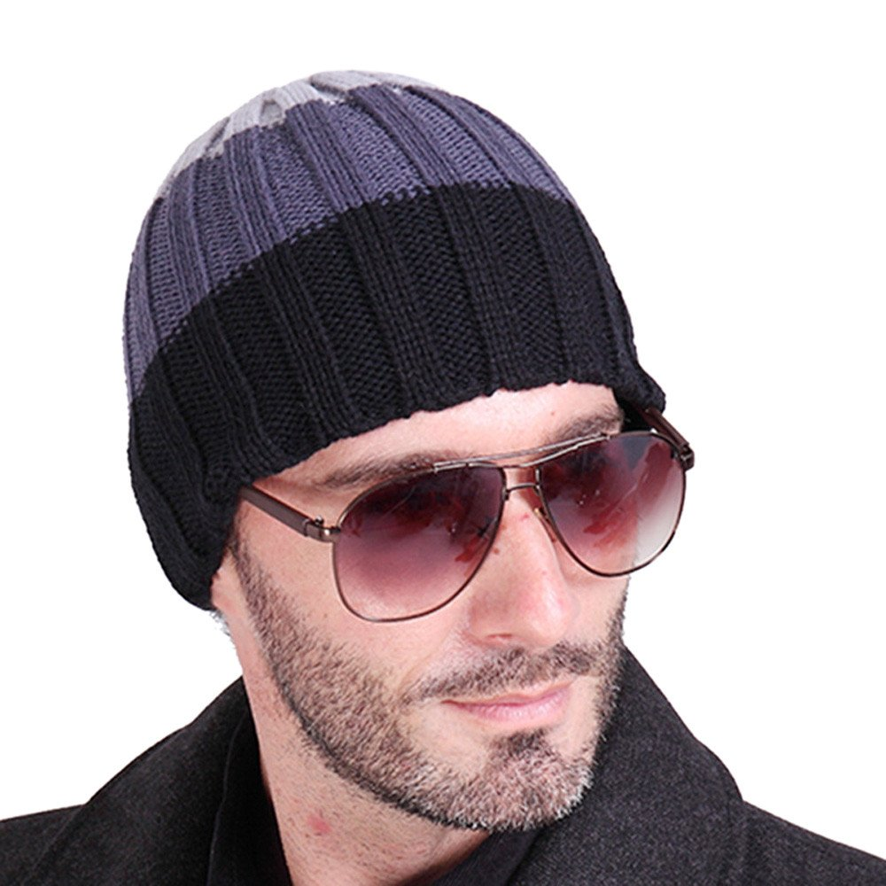 Clearance! Men Teens Boys Winter Stylish Knit Ski Crochet Slouchy Hat Cap Beanie Hip-Hop Hat Snow Cap (B, Free) Challyhope