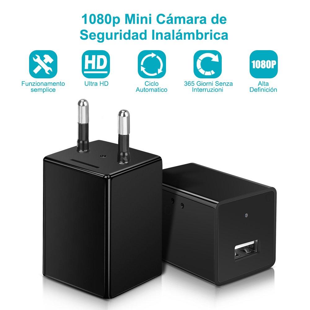 Yissvic WiFi Cámara Espía IP Mini Cámara Oculta HD 1080P Cargador de Cámara USB Cargador de Pared Cámara de vigilancia Detección de Movimiento Admite ...