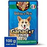 Ganador Recetas Delicias de Pavo para Perros Adultos de Todas Las Razas, Azul, Paquete con 22 Piezas de 100 g c/u