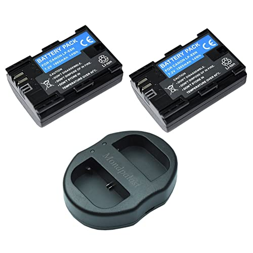 Mondpalast @ 2x Replacement Battery LP-E6N LPE6 LP E6N 1865mAh Li-ion type with info chip + 1x USB Portable Dual Digital Camera Battery Charger for Canon EOS 5D Mark IV CANON 5D MARK 4 5d mk4