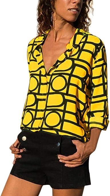 Mujer Camisas Impresiód Blusas de Manga Larga Cuello V Camisa ...