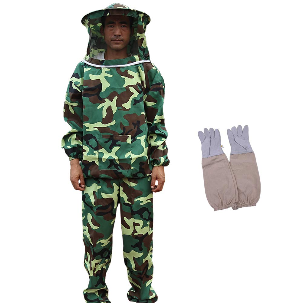 Bee Keeper Outfit, Bee Keeping Gear, Beekeeping Suit Protective with Veil Hood (Jacket, Pants, Gloves) Camouflage by MTH