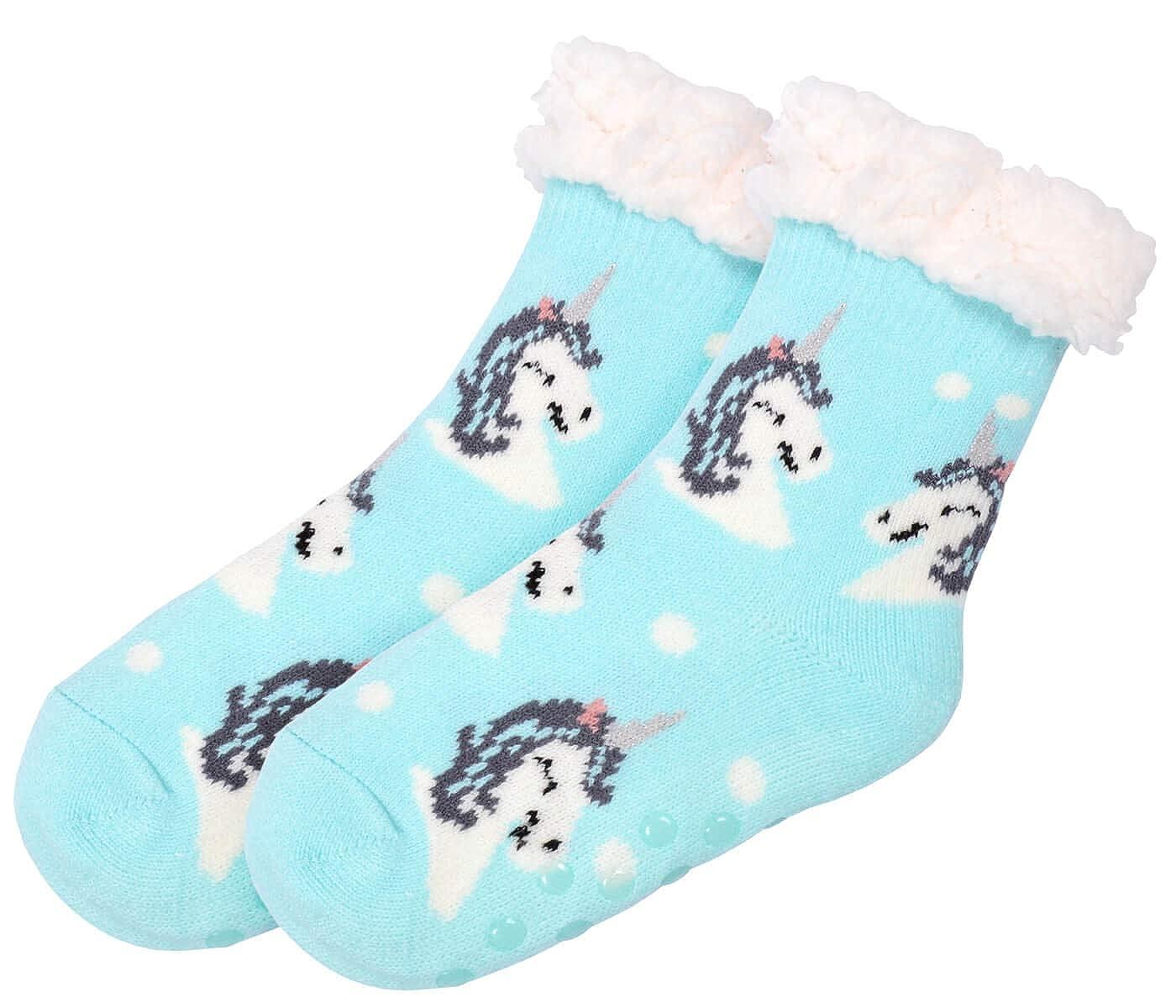 Cosy Indoor Slipper Socks One Size with Unicorn for Girls Children 8-12 Non Slip Grips Warm Fluffy Lining Super Soft Norwegian Style for Christmas Winter