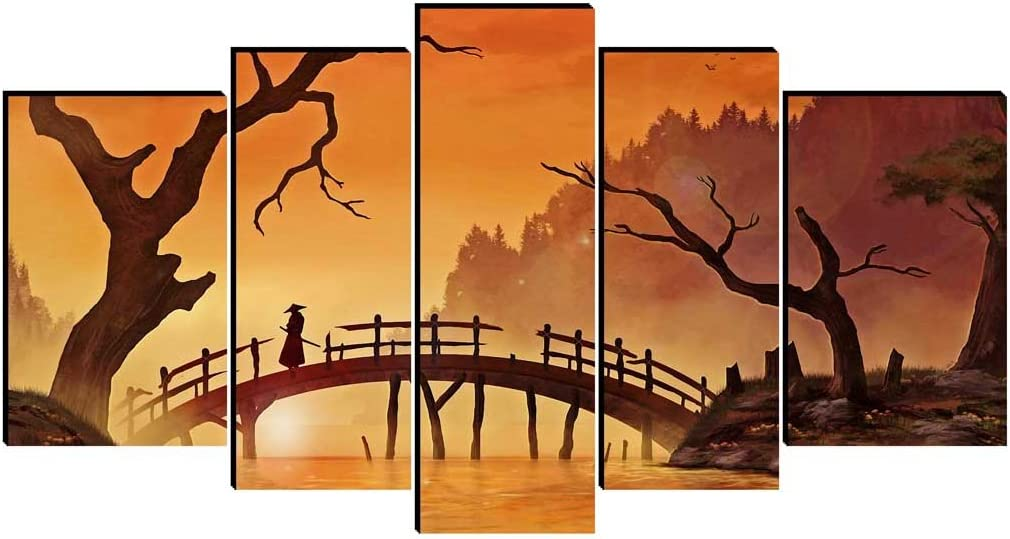 5,1 Bilder Auf Leinwand,Retro Japan Bushido Samurai Kanji Leinwanddrucke Kunstwerk 13 Cm X 18 Cm Abstrakte Wandkunst Wolf Bilder Drucken Auf Leinwand F/ür Wohnaccessoires Wanddekoration Geschenk