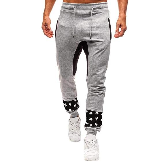 LuckyGirls Pantalones de Chándal de Hombres Estampado de Estrellas Patchwork Pantalones de Deporte Pantalones Jogger Casuales para Hombre Pantalón con ...