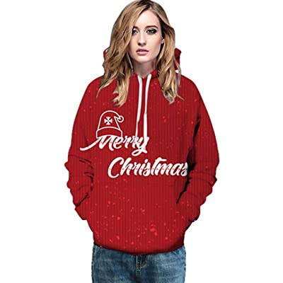 Unisex Colorful Graphic Hoodies 3D Print Cool Sweatshirt Long Sleeves Hooded Pullover Tops for Xmas Party: Clothing