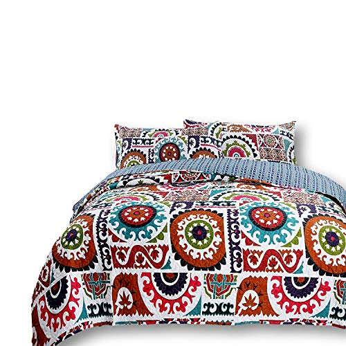 DaDa Bedding Bohemian Bedspread Set - Wildfire Gardens Floral Geometric Coverlet - Bright Vibrant Multi Colorful Rainbow - King - 3-Pieces