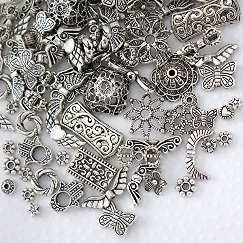 Beading Station Antique Style Everything Mix, Charms, Spacers, Bead Caps, Clasps, Connectors, All Crafting Needs ~ Jewelry Findings ~ (Spacer&Caps 100pcs Antique Silver) ()