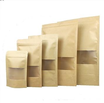 Amazon.com: Gereen - Bolsa de papel kraft con cierre de ...