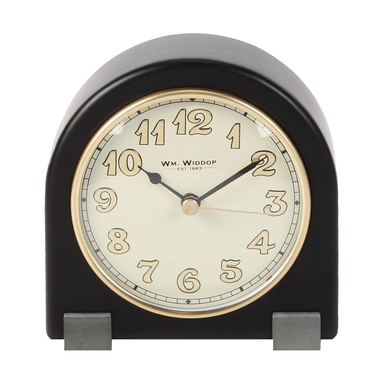 Retro arco reloj de mesa patas de metal negro árabe Dial 12,5 cm ...