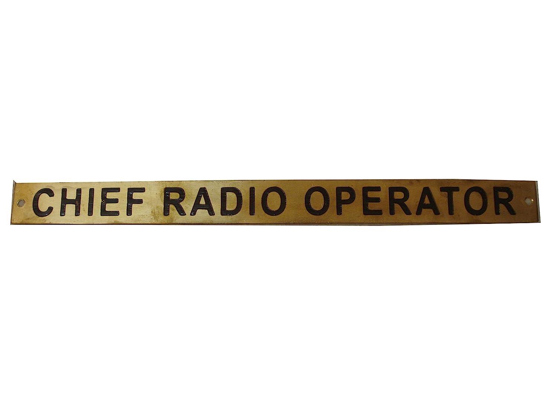 Chief Radio Operator – Marine Brass Door Sign - Boat/Nautical - 12 x 1  Inches (132)
