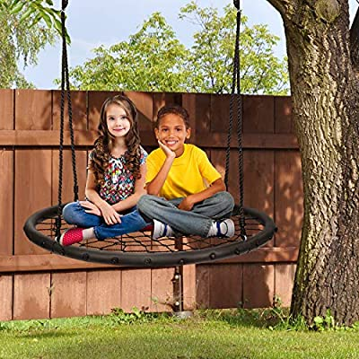 Sorbus Spinner Swing – Kids Round Web Swing – Great for Tree, Swing Set, Backyard, Playground, Playroom – Accessories Included [New Improved 2020 Design!] (40