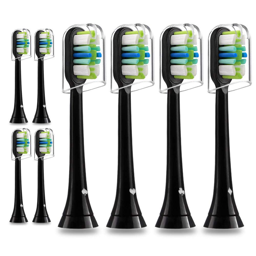 Lanveda Plaque Control Brush Heads, Compatible with Sonicare 5100 Gum Health Toothbrush, Fit 2/3 Series and More Sonic Model, High-Density & Metal-Free Technique, 8 Pack Black