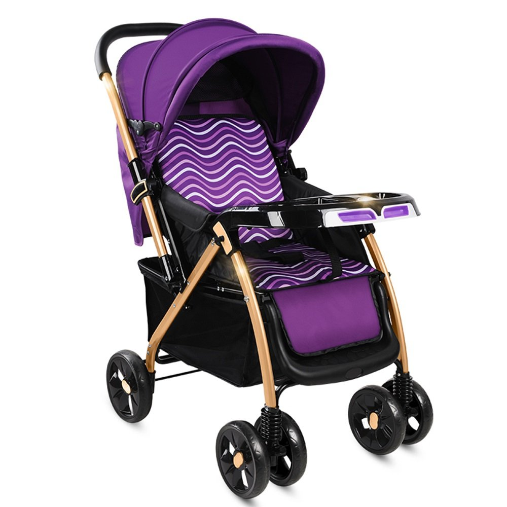 座って軽いベビーベビーカーの折り畳みベビーカーベビーカーの高風景の子供のベビーカー (色 : Purple)  Purple B07G85V24F