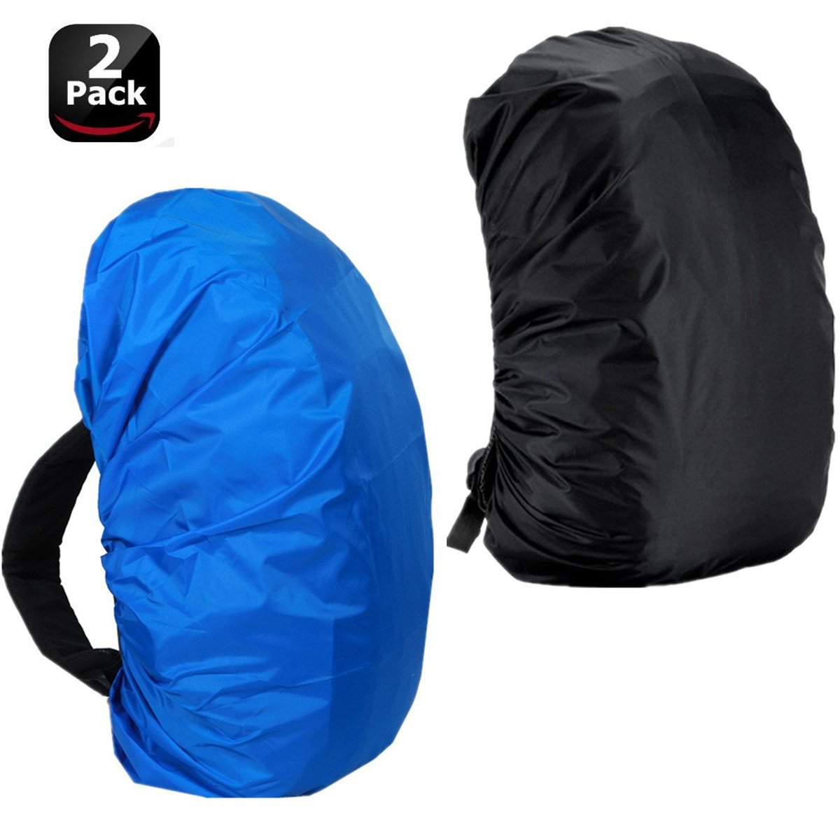 Lanticy Backpack Rain Cover, 2 Pack Waterproof Pack Bag Rain Covers 30L-40L Large Small Tear Resistance Dustproof Rainproof Protector Adjustable Elastic Raincover for Travel and Outdoor Activities