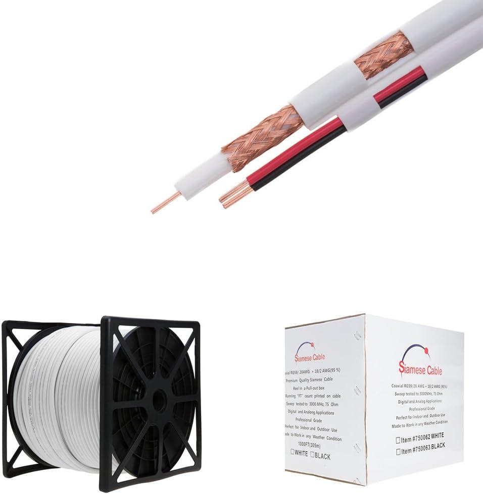 18//2 SIAMESE CABLE: 1000FT WHITE BULK RG59//U UL LISTED 95/% COPPER