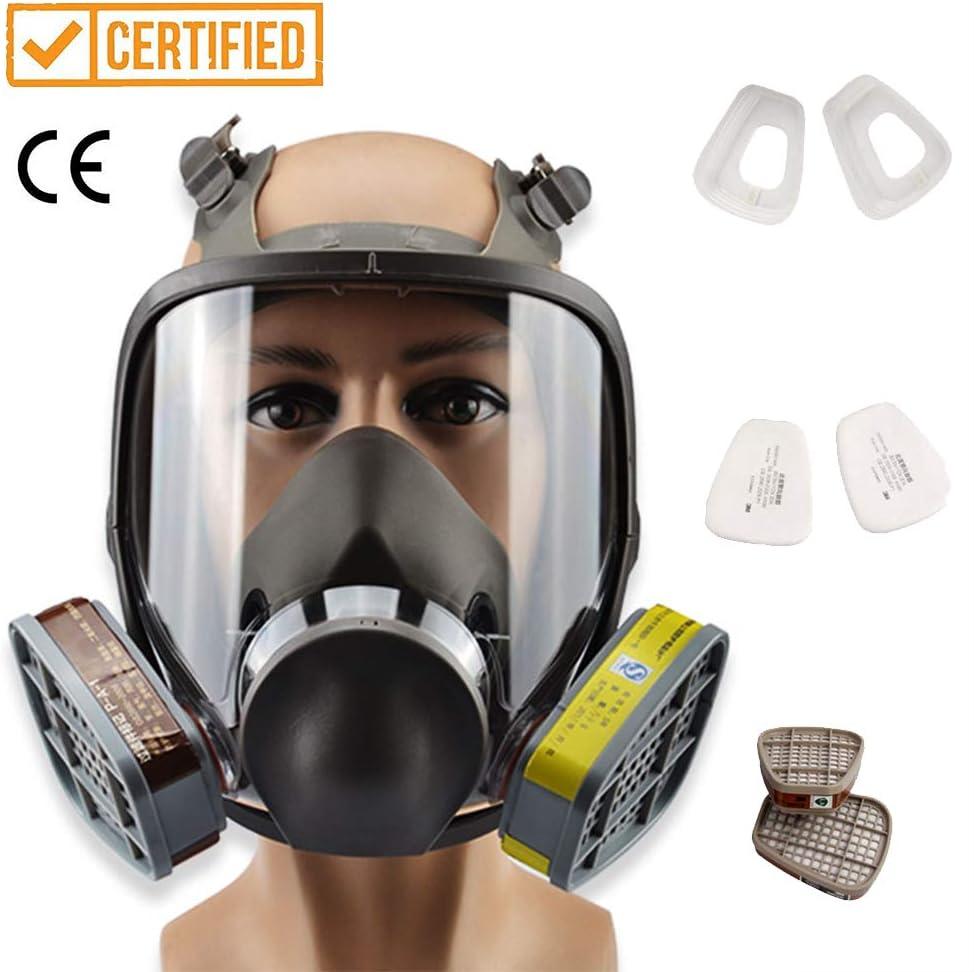 Máscara de Gas de Cara Completa, Filtro de Máscara de Protección contra el Aliento con Algodón de Filtro de 5 Partes y Gafas Protectoras para Trabajos de Pintura, Polvo, Pa