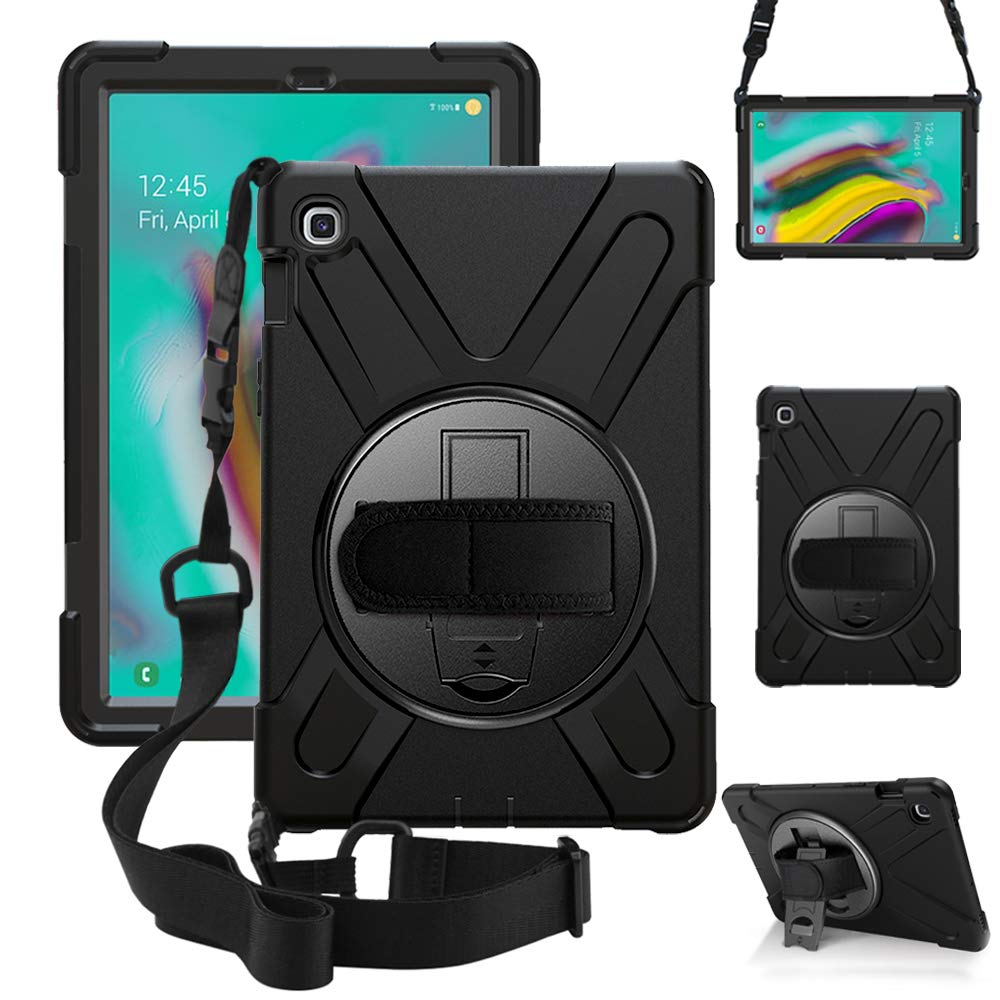 ZenRich Galaxy Tab S5e Case 2019, zenrich SM-T720/T725/T727 Heavy Duty Shockproof Rugged Case with Rotatable Stand Hand Strap and Shoulder Belt for Samsung Galaxy Tab S5e 10.5 inch 2019 Tablet-Black