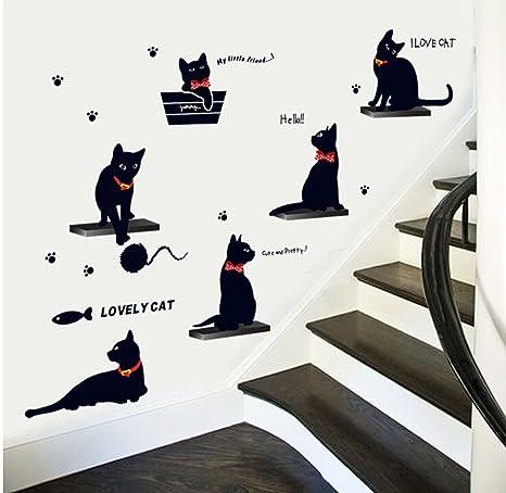 Winhappyhome Gatos negros pegatinas de pared para cuarto de los niños Adhesivos removibles