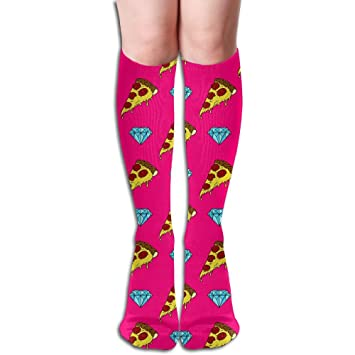 f4e9aa9e6 Tube High Keen Sock Boots Crew Pizza Diamonds Compression Socks Long Sport  Stockings