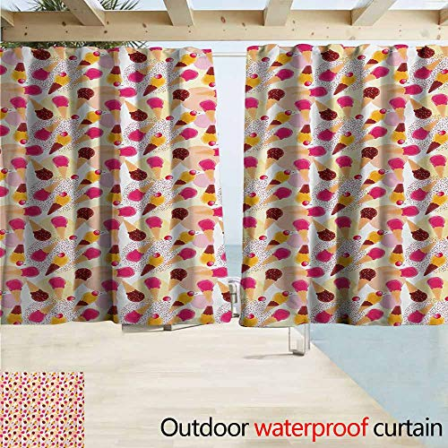 Wlkecgi Ice Cream Extra Wide Outdoor Curtain Sweet Taste of Summer Theme Chocolate and Fruity Flavor Cherries Circle Sprinkles for Patio/Front Porch W55 xL45 Multicolor