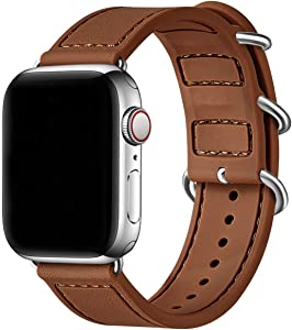 BesBand Compatible with Apple Watch Bands 44mm 42mm 40mm 38mm for Women Men,Soft Silicone Sport Strap Replacement Band for Apple Watch SE & iWatch Series 6/5/4/3/2/1 (Brown/Silver, 42mm 44mm)