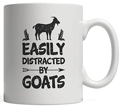 57e250f6 Easily Distracted By Goats Mug - Great Gag Gift for Goat Lovers,  Whispererers & Riders