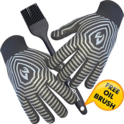 Extreme Heat Resistant BBQ Gloves – Highest Heat Grill Gloves Up To 932°F Resistant - Premium Insulated – Cooking, Frying, Grilling Gloves with Bonus Silicone Oil Brush