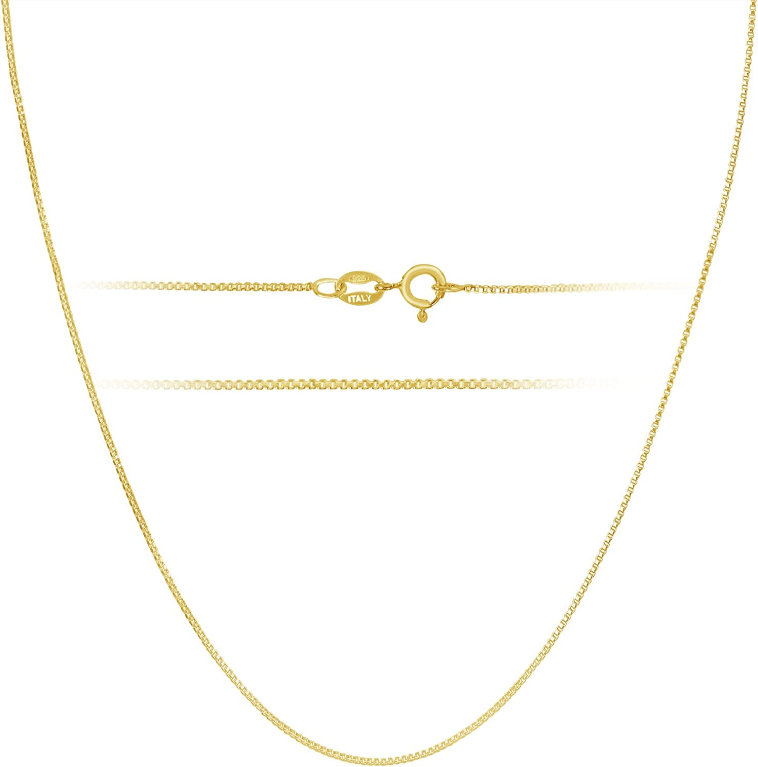 18k Gold over Sterling Silver 1mm Box Chain Necklace Made in Italy 14 Inch