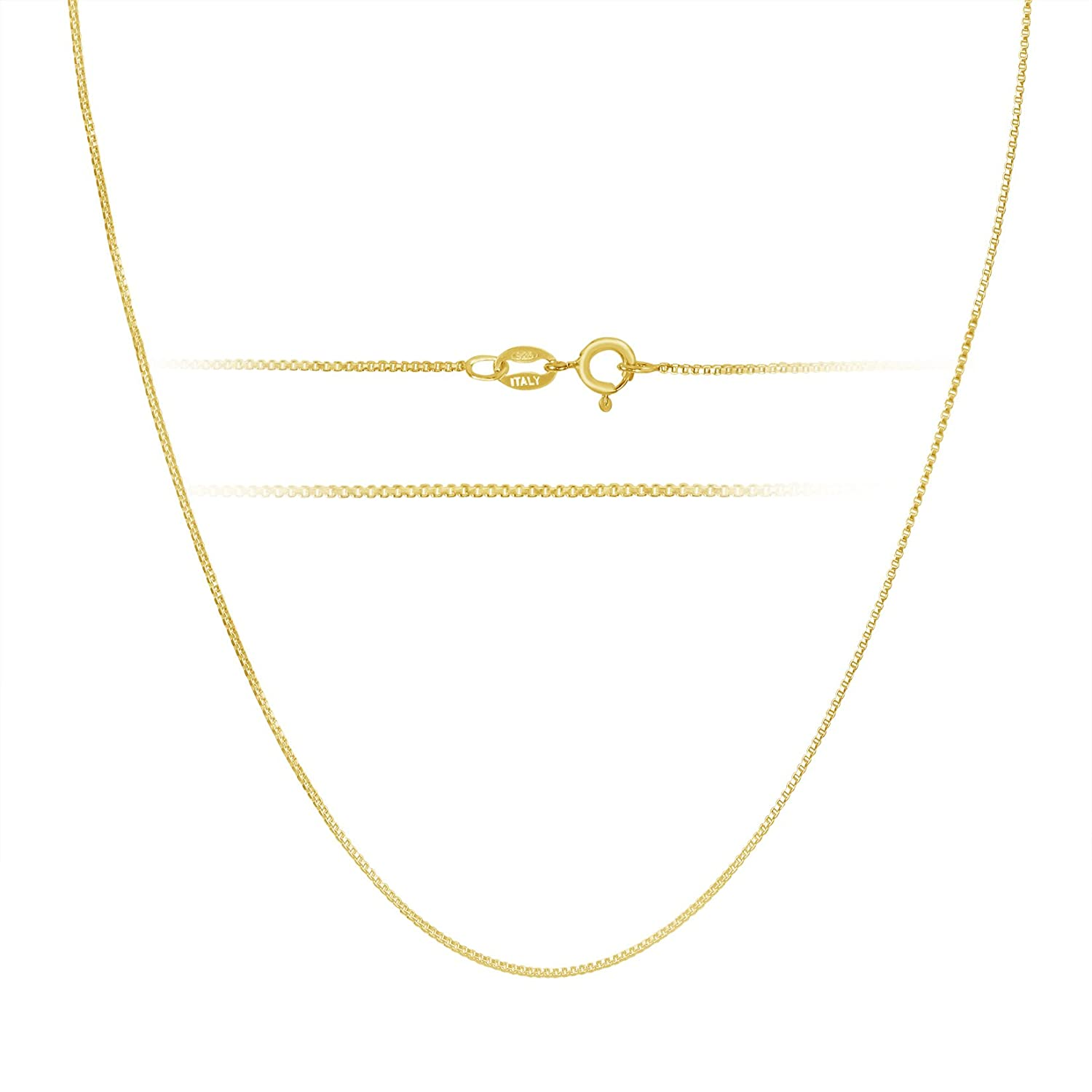 Kezef 18k Gold over Sterling Silver 1mm Box Chain Necklace Made in Italy All Sizes LnKjF