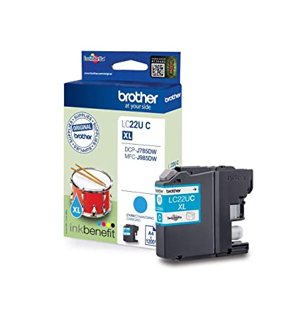 Brother LC-22UC 1200páginas Cian cartucho de tinta - Cartucho de tinta para impresoras (Brother, Cian, MFC-J985DW, DCP-J785DW, Alto, 1200 páginas, ...