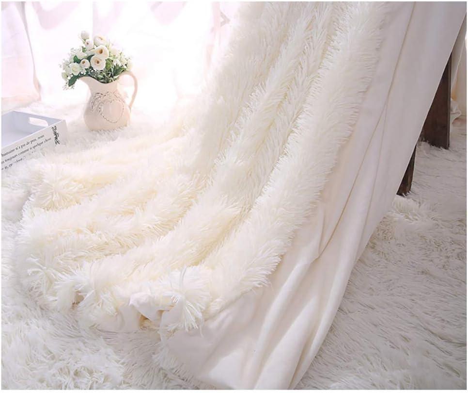 ARKEY Manta suave, larga y peluda - piel sintética, cálida, elegante y acogedora con colcha de manta esponjosa [130 x 160 cm] [blanco]