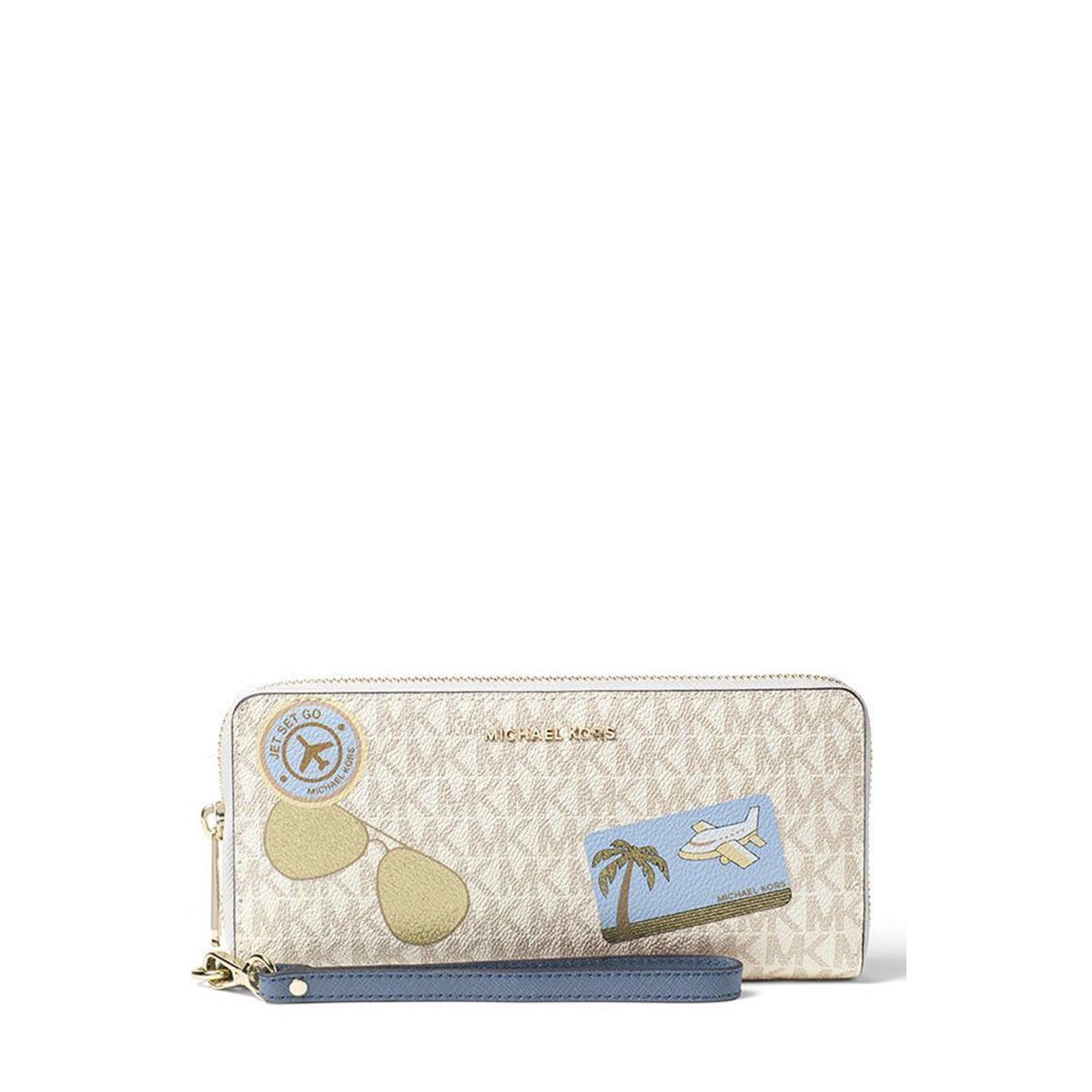 Michael Kors Fly Away Travel Continental Wallet (Vanilla/Denim) by Michael Korz