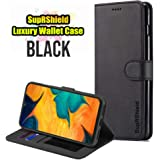 for Samsung Galaxy A30 LC IMEEKE Luxury Wallet Leather Card Holder Flip PU Magnetic Protective Heavy Duty Gel Shockproof Case Cover (Black)