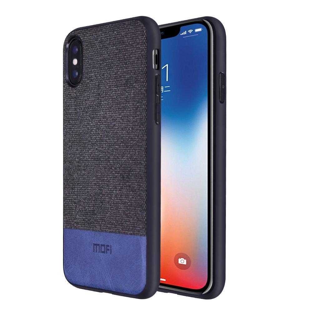 IPhone X Cases, Anti-Scratch Shock-absorbing fabric business men Covers with Full Silicone Soft Edges and Great Grip, Fully-protective and Compatible for iPhone X(Black+Blue)