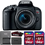 Canon EOS Rebel T7i 24.2MP DSLR Camera with 18-55mm IS STM Lens and Two 64GB Memory Cards
